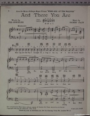 First page of And there you are by Francis Day & Hunter Ltd