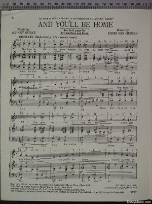 First page of And you'll be home by The Victoria Music Publishing Co Ltd