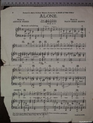 First page of Alone by Francis Day & Hunter Ltd