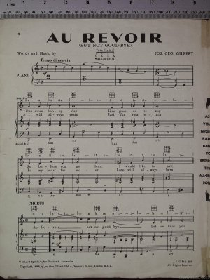 First page of Au revoir but not goodbye by Jos Geo Gilbert Ltd