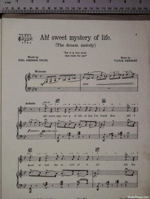 First page of Ah sweet mystery of life by Feldman