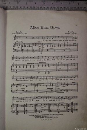 First page of Alice Blue Gown by Herman Darewski Music Publishing Co