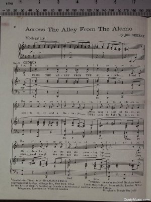 First page of Across the alley from the Alamo by Leeds
