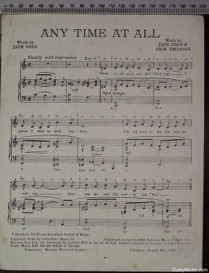 First page of Any time at all by Macmelodies