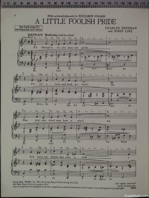 First page of A little foolish pride by The Streling Music Publishing Co Ltd