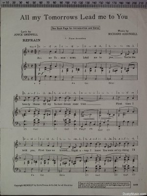 First page of All my tomorrows lead me to you by Keith Prowse & Co Ltd