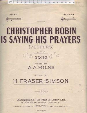 Christopher Robin is saying his prayers - Old Sheet Music by Ascherberg Hopwood & Crew Ltd
