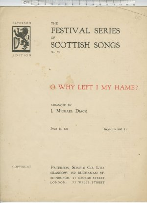 O why left I my hame ? - Old Sheet Music by Patterson, Sons & Co Ltd