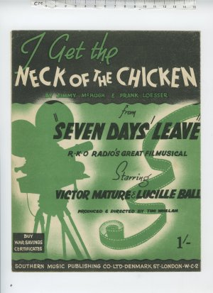 I get the neck of the chicken - Old Sheet Music by Southern Music Publishing Co Ltd