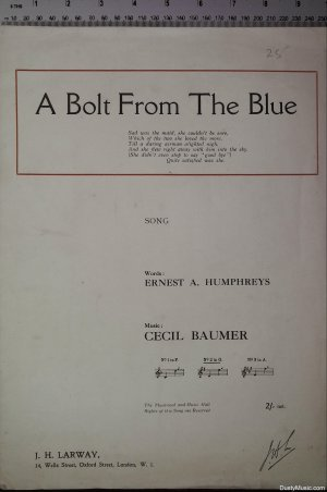 A Bolt from the blue - Old Sheet Music by J H Larway