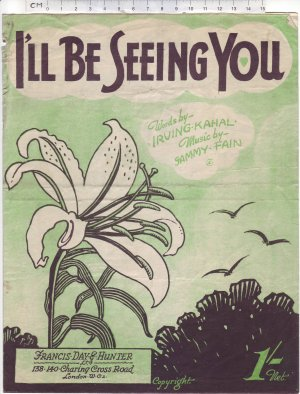 I'll be seeing you - Old Sheet Music by Francis Day & Hunter Ltd