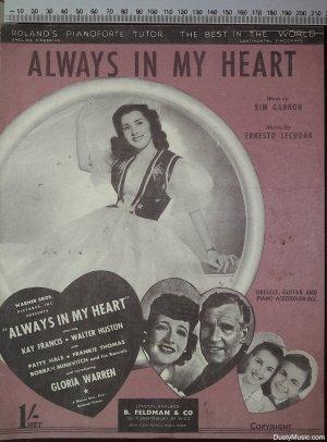 Always in my heart - Old Sheet Music by Feldman