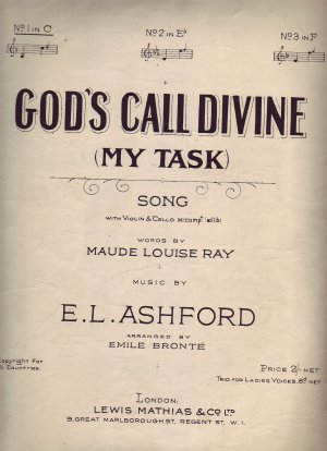 God's call divine (My task) - Old Sheet Music by Lewis Mathias & Co Ltd