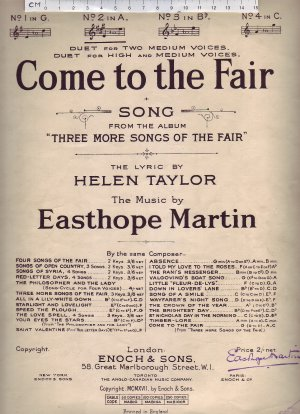 Come to the fair - Old Sheet Music by Enoch & Sons