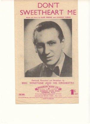 Don't sweetheart me - Old Sheet Music by Bradbury Wood Ltd
