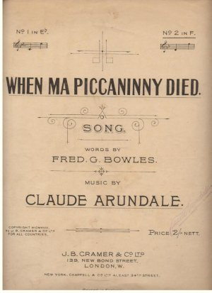 When Ma Piccaninny died - Old Sheet Music by J B Cramer & Co Ltd