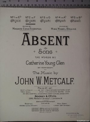Absent - Old Sheet Music by Boosey & Co Ltd