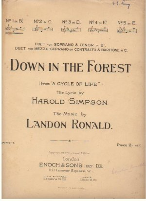 Down in the forest - Old Sheet Music by Enoch & Sons Ltd