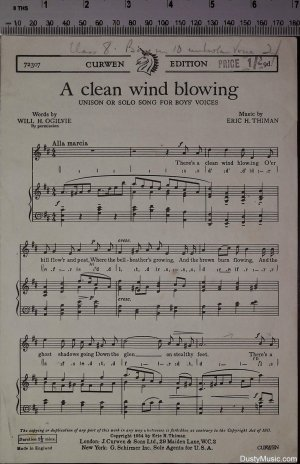 A clean wind blowing - Old Sheet Music by J Curwen & Sons Ltd