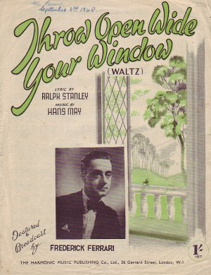 Throw open wide your window - Old Sheet Music by The Harmonic Music Publishing Co Ltd