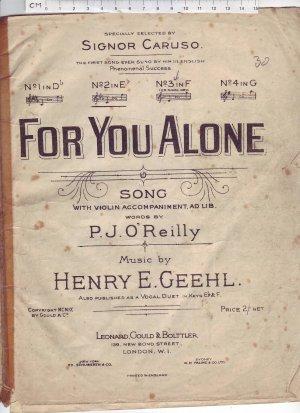 For You Alone - Old Sheet Music by Leonard Gould & Bolttler