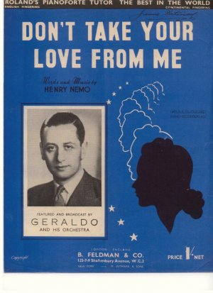 Don't take your love from me - Old Sheet Music by Feldman