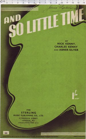And so little time - Old Sheet Music by Sterling