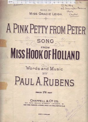 A pink petty from Peter - Old Sheet Music by Chappell