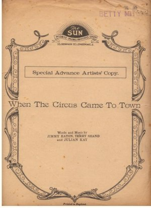 When the circus came to town - Old Sheet Music by Sun