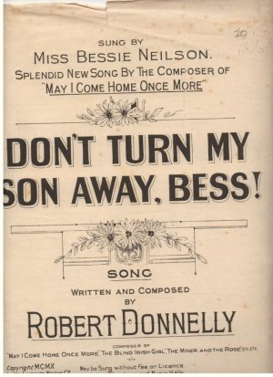 Dont turn my son away, Bess - Old Sheet Music by Lawrence Wright