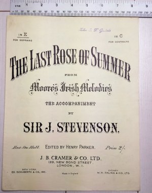 The last rose of summer - Old Sheet Music by Cramer