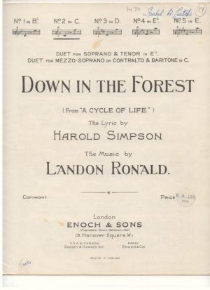 Down in the forest - Old Sheet Music by Enoch