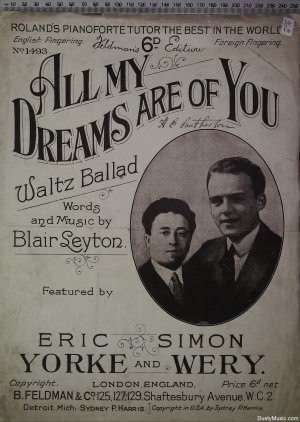 All my dreams are of you - Old Sheet Music by Feldman