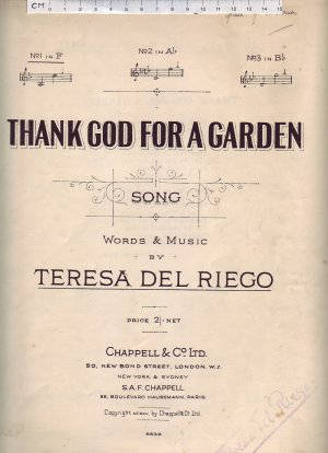 Thank God for a garden - Old Sheet Music by Chappell
