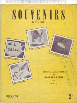 Souvenirs - Old Sheet Music by Bourne Music