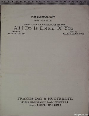 All I do is dream of you - Old Sheet Music by Francis Day & Hunter