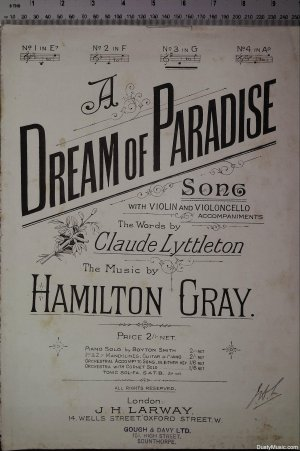 A dream of paradise - Old Sheet Music by Larway