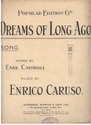 Dreams of long ago - Old Sheet Music by Ascherberg Hopwood & Crew