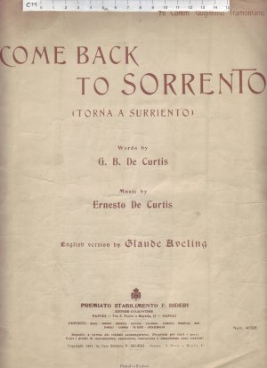 Come back to Sorrento - Old Sheet Music by F Bideri