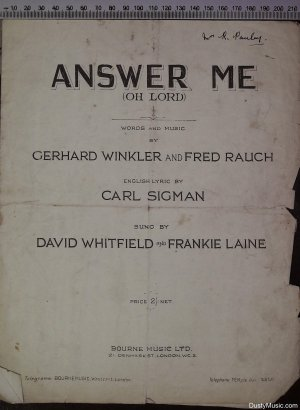 Answer me - Old Sheet Music by Bourne