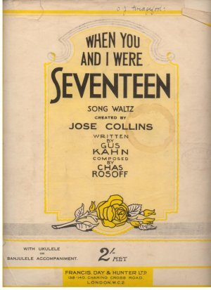 When you and I were seventeen - Old Sheet Music by Francis Day & Hunter