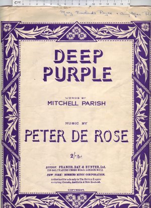 Deep purple - Old Sheet Music by Francis Day & Hunter