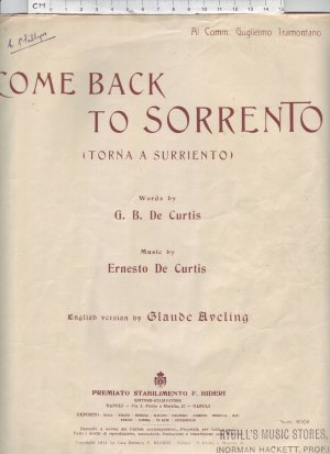 Come back to Sorrento - Old Sheet Music by Premiato