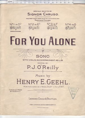 For you alone - Old Sheet Music by Leanard Gould & Bolttler