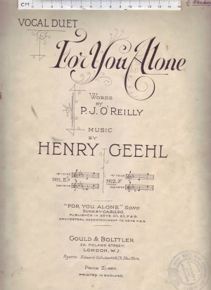 For you alone - Old Sheet Music by Leonard Gould & Bolttler