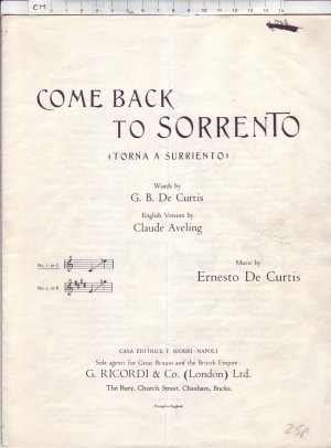 Come back to Sorrento - Old Sheet Music by Ricordi