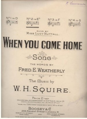 When you come home - Old Sheet Music by Boosey & Co