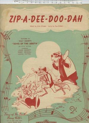 Zip-a-dee-doo-dah - Old Sheet Music by Sun