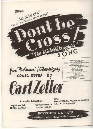 Don't be cross - Old Sheet Music by Bosworth