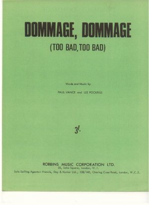 Domage domage - Old Sheet Music by Robbins
